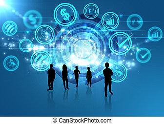 cyfrowy, towarzyski, media, świat, pojęcie