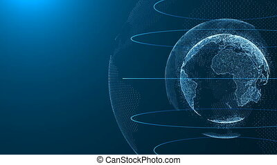 cyfrowy, ziemia, połączenie, sieć, ruch obrotowy, od, planeta, światowa mapa, tło