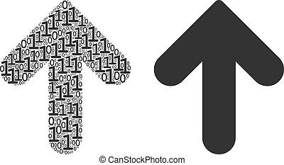 cyfry, dwójkowy, collage, do góry strzała
