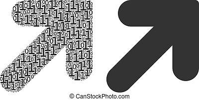 cyfry, dwójkowy, dobry, do góry strzała, mozaika