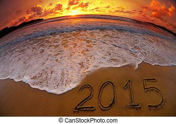 cyfry, ocean, zachód słońca, rok, 2015, nowy, plaża