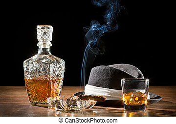 cygaro, retro, skała, palenie, kapelusz, whisky