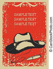 cygaro, .vector, kapelusz, wizerunek, tło, kowboj, grunge, graficzny, tekst