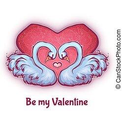 cygnes, coeur, vecteur, deux, illustration