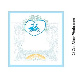 cykel, brudgum, brud, tandem, inbjudan, ridande, bröllop