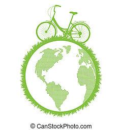 cykel, drivande, planet, ekologisk, vektor, grön fond