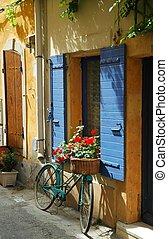 cykel, gammal, fönster, främre del