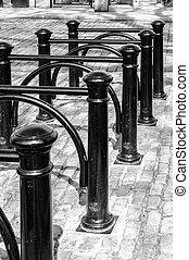 cykel, gammal, påfallande, avbild, stå, monokrom