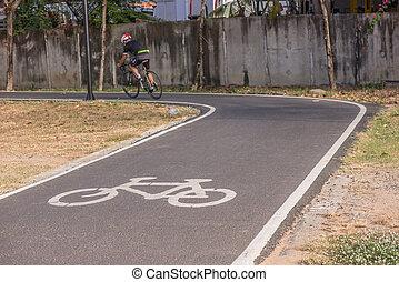 cykel gränd, i parken, cykling