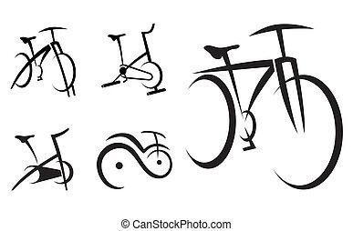 cykel, hälsa, cykel, utrustning