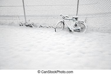 cykel, in, vinter