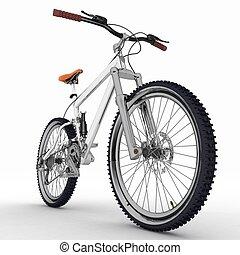 cykel, isolerat, vita, bakgrund