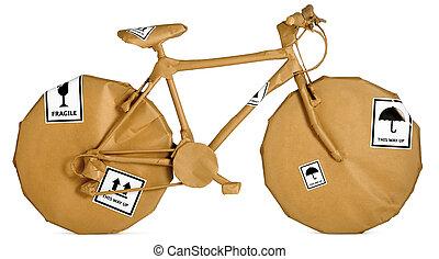 cykel, jag vecklade i brun tidning, klar, för, en, ämbete...