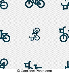 cykel, mönster, skylt., seamless, vektor, geometrisk, texture., ikon