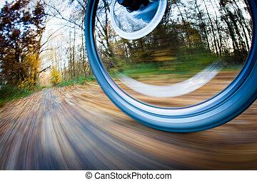 cykel rida, in, a, stad parkera, på, a, söt, autumn/fall,...