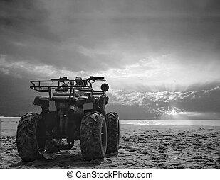 cykel, sky, smuts, foto, wheeler, fyra, sand, dramatisk, ...