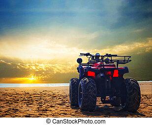 cykel, smuts, strand, wheeler, sky, fyra, sand, dramatisk, ...