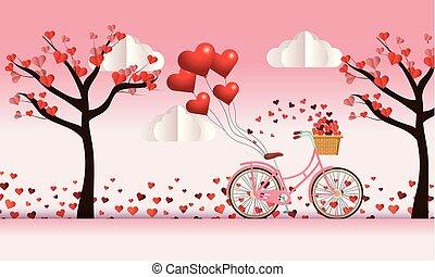 cykel, träd, valentinbrev, dekoration, hjärtan, blomningen, dag