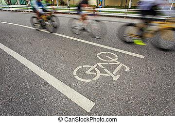 cykel, underteckna, eller, ikon, och, rörelse, av, cyklist, i parken