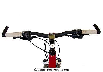cykel, vit, handtag, isolerat, bakgrund