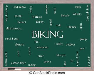 cykla, ord, moln, begrepp, på, a, blackboard