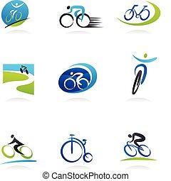 cykling, och, bicycles, ikonen