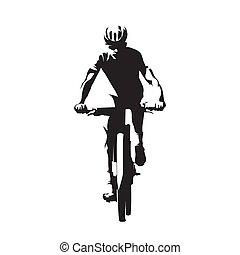 cykling, utför, vektor, synhåll, mtb, isolerat, cyklist, främre del, cykel, silhouette., fjäll