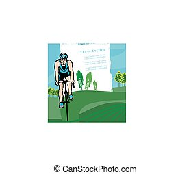 cykling, utrymme, text, abstrakt, -, kärlek, baner, ram