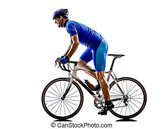 cyklist, cykling, väg, cykel, silhuett