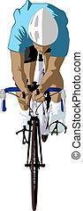 cyklist, framdelen beskådar
