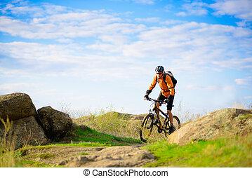 cyklist, ridande, den, cykel, på, den, vacker, fjäll, skugga