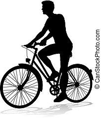 cyklista, jezdit jízdní kolo, jezdit na kole, silueta