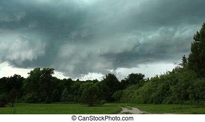 cyklon, pomyłka, stwarzając, burza, czas