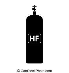 cylinde, fluoruro, gas, icon., idrogeno