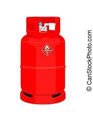 cylinder., ガス, 赤