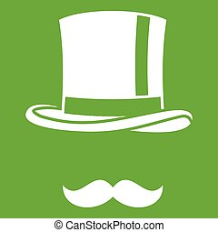 Cylinder and moustaches icon green