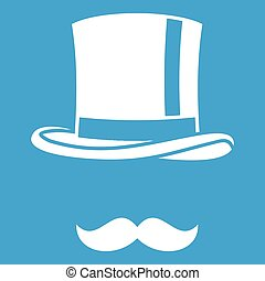 Cylinder and moustaches icon white