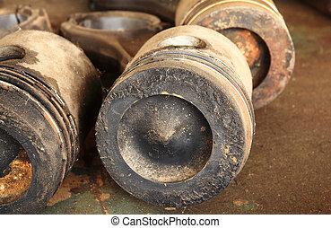 cylinder, använd, smutsa ner
