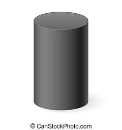 Black 3d cylinder isolated on white background