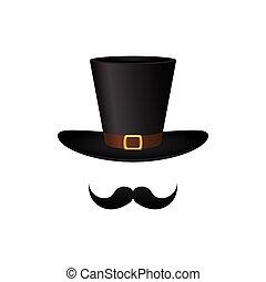 cylinder., chapeau, moustache