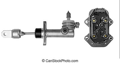 Cylinder clutch and ignition unit on a white background