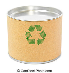 Cylinder container with recycle symbol isolated on white background
