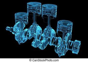 Cylinder crank 3D xray blue transparent