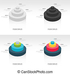 Cylinder infographic template set