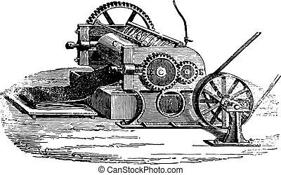 Cylinder rubber chipping, vintage engraved illustration. Industrial encyclopedia E.-O. Lami - 1875.