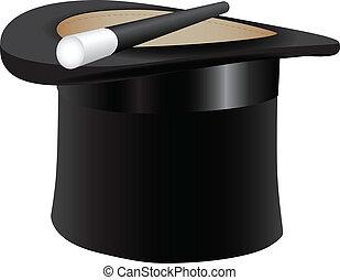 cylinder, tryllekunstner, er, hat