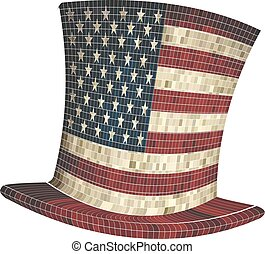 Cylinder with USA flag - Illustration, American hat, Mosaic ...
