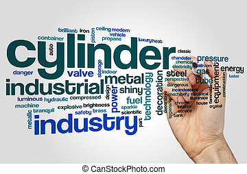Cylinder word cloud concept on grey background