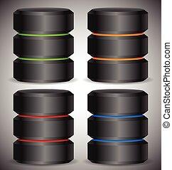 cylinders., base de datos, duro, metálico, servidor, unidad, concepto, hdd, hosting, disco