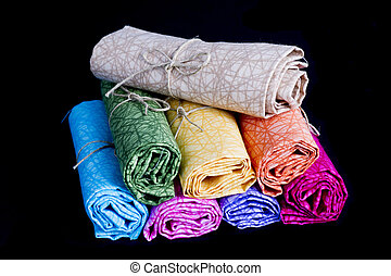 Cylinders of Colorful Fabric